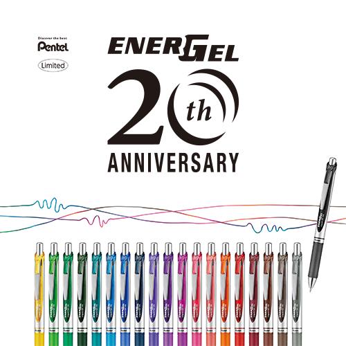 ぺんてる エナージェル20周年記念20色セット<限定ペンスタンド付き>
