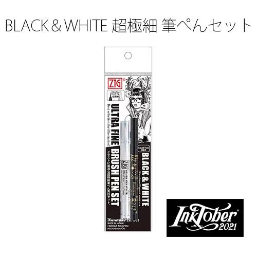 呉竹 ZIG BLACK&WHITE 超極細筆ぺんセット 白筆ぺん&愛ライナー IKTB-21/2V
